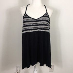 Maurices Black Aztec Embroidered Y Back Tank Top